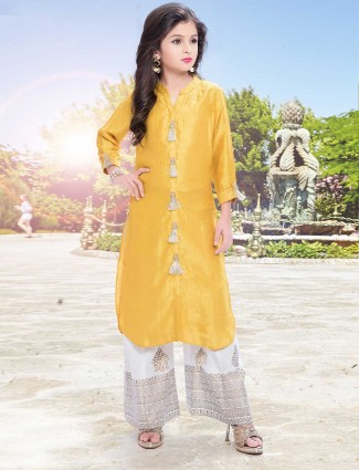 Elegant yellow palazzo suit for festive occasion