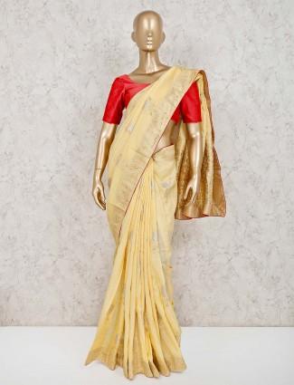 Elegant yellow saree in dola silk
