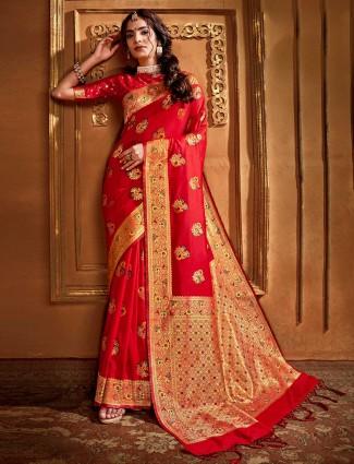 Elegent banarasi silk saree in red