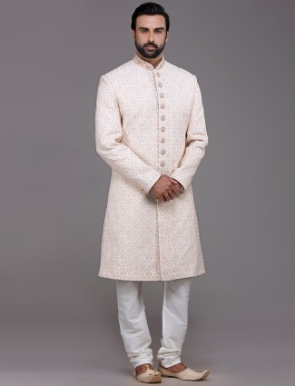 Elegent cream sherwani in silk