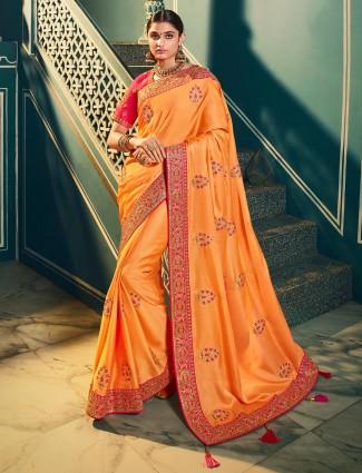 Elegent orange satin silk saree