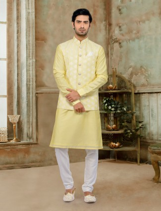 Elegent yellow cotton silk waistcoat for wedding
