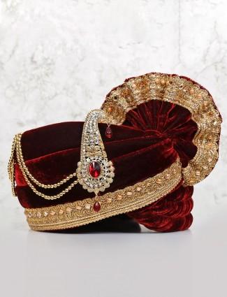 Embellished maroon velvet turban