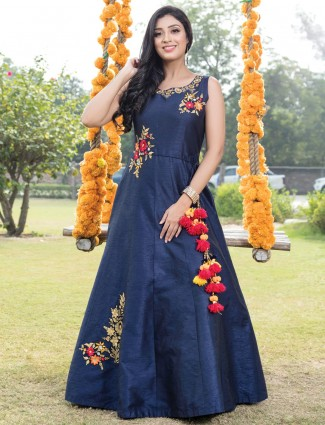Embroidered blue gown for party