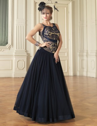 Embroidered ready made navy net anarkali suit
