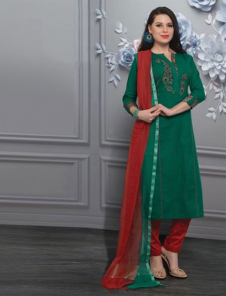 Embroidered salwar kameez in green