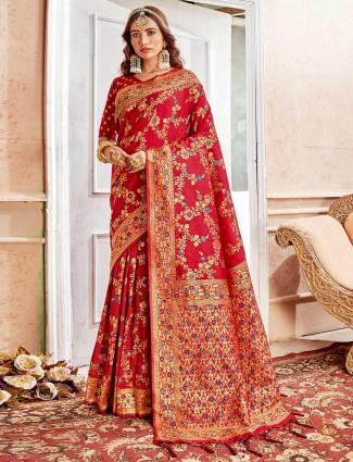 Embroidery banarasi silk maroon wedding saree