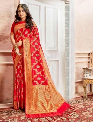 Embroidery red banarasi silk saree
