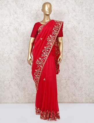 Embroidery red saree in organza tissue