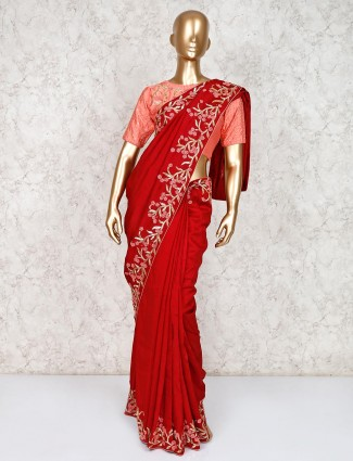 Embroidery red saree in satin silk with ready made blouse