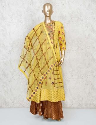 Embroidery yellow anarkali kurta paired with palazzo