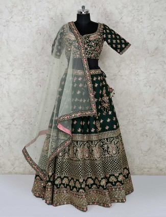 Emerald green embroidered bridal lehenga choli