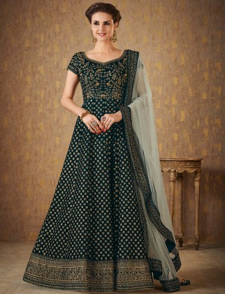 Emerald green floor length anarkali suit