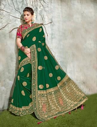 Emerald green semi silk festive saree
