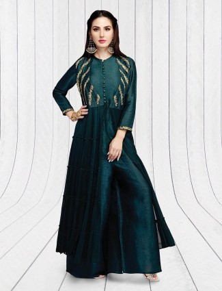 Emerald green silk party palazzo suit