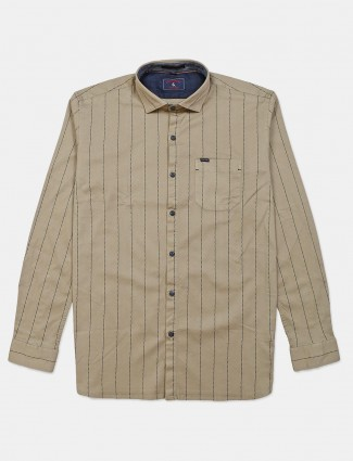 Eqiq beige stripe cotton shirt