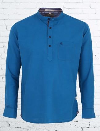 EQIQ blue color slim fit shirt