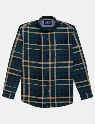 Eqiq green checks cotton shirt for mens