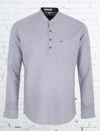EQIQ grey color plain casual shirt
