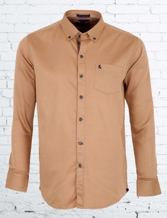 EQIQ khakhi color plain slim fit shirt
