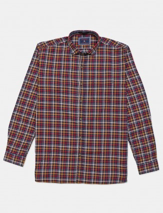 Eqiq navy and yellow checks cotton shirt