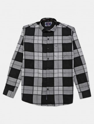 Eqiq black checks shirt casual wear