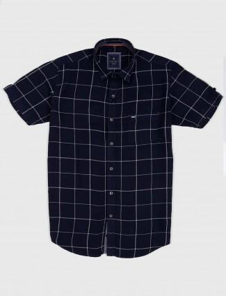 EQIQ navy colored checks slim fit shirt