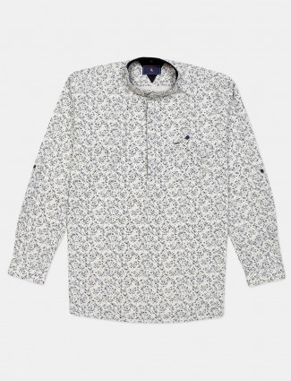 Eqiq off white printed chinese collar cotton shirt
