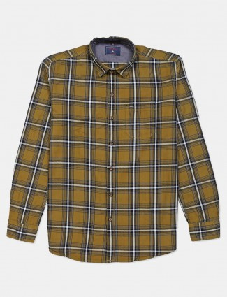 Eqiq olive checks casual shirt for mens