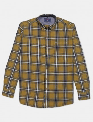 Eqiq olive cotton checks casual shirt