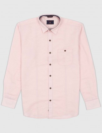 EQIQ pink cotton fabric casual shirt