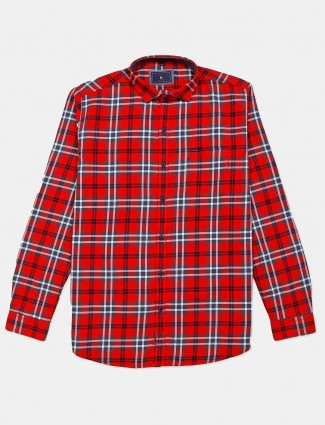 Eqiq red checks cotton shirt for mens