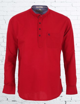 EQIQ red slim fit cotton shirt