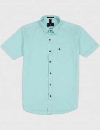 EQIQ sea green solid cotton shirt