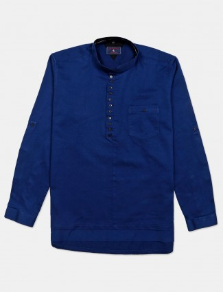 Eqiq solid blue cotton shirt casual wear
