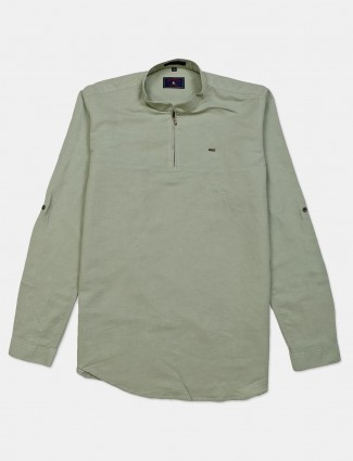 Eqiq solid pista green casual cotton shirt