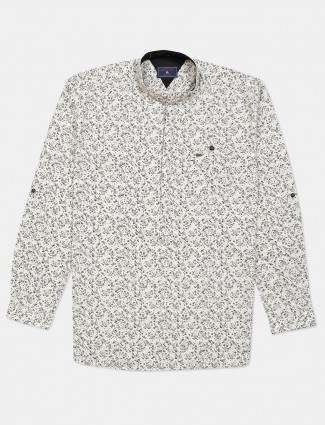 Eqiq white printed cotton shirt