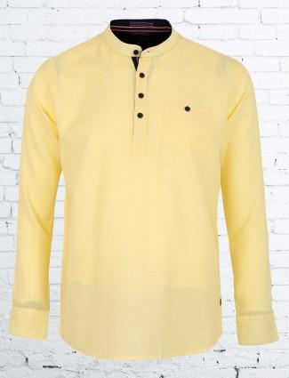 EQIQ yellow color casual cotton shirt