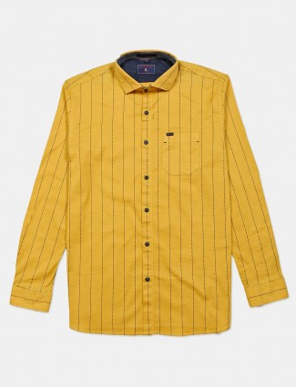 Eqiq yellow stripe cotton shirt