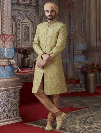 Ethnic collection green raw silk sherwani