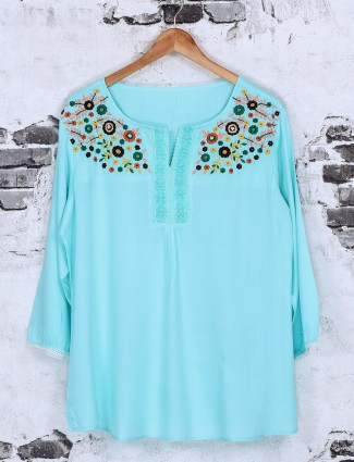 Exclusive aqua cotton fabric top
