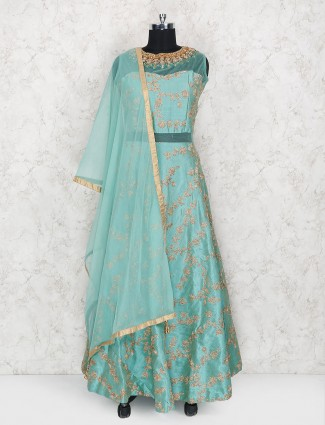 Exclusive aqua hue cotton silk floor length anarkali suit
