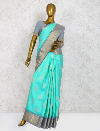 Exclusive aqua pure silk fabric saree