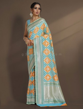 Exclusive aqua zari weaving designer saree