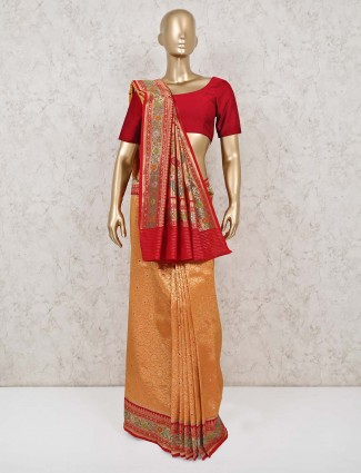 Exclusive banarasi silk orange saree