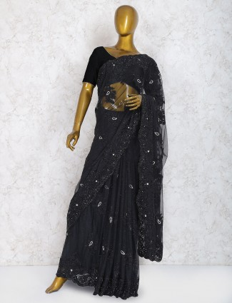 Exclusive black color saree in net