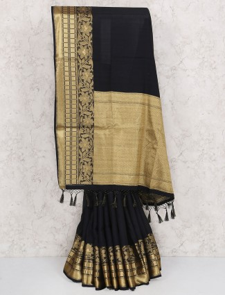Exclusive black cotton silk saree