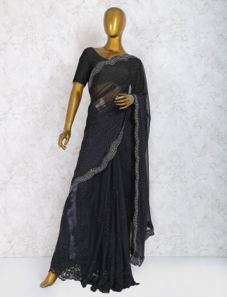 Exclusive black hue net party wear saree