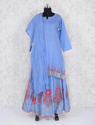 Exclusive blue cotton fabric lehenga cum salwar suit