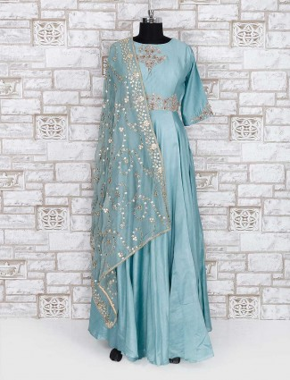 Exclusive teal green cotton silk anarkali suit